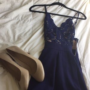 Blue and Nude A line Dress